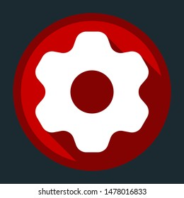 Gear icon. Asterix. White icon with shadow on round red button at dark cyan background. Illustration.