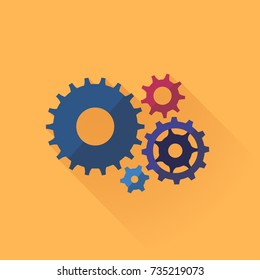 Gear icon. Cogwheel mechanism as symbol of business process. Vector illustration.