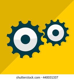 Gear icon. Flat design. Vector illustration