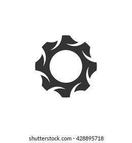 Gear icon isolated on a white background. Logo silhouette design template. Simple symbol concept in flat style. Abstract sign, pictogram for web, mobile and infographics - stock vector