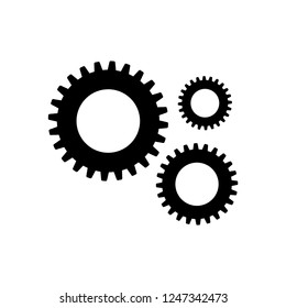 Gear icon, logo on white background