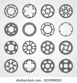 Gear icon set. 16 vector cog wheel silhouettes isolated on white background. Gears collection for logo, app buttons or infographic.