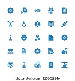 gear icon set. Collection of 25 filled gear icons included d printing, File, Machine, Hook, Wheel, Tools, Settings, Projection, Cogwheel, Pulley, Damper, Tool, Handlebar, Crankset