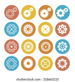 Gear Icon Set. Flat Design. Circle Buttons. Vector illustration