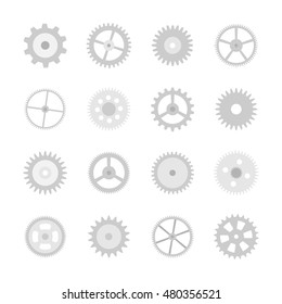 Gear Icon Set. Isolated gear signs on white background - vector illustration.
