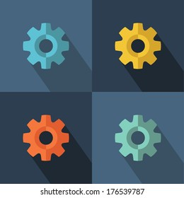 Gear icon set with long shadow. Flat design. Vector illustration