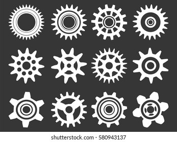 Gear icon set. Vector transmission cog wheels and gears isolated on white background