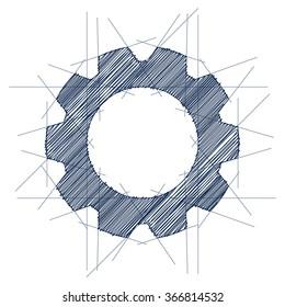 Gear icon sketch. Vector illustration.