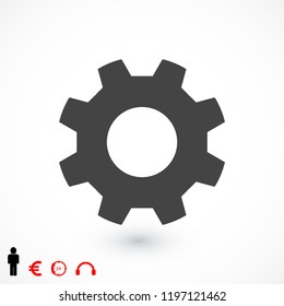 gear icon, stock vector illustration flat design style