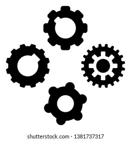 Gear icon symbol set. Vector illustration style is flat iconic symbols, isolated on a white background. Gear pictograms.