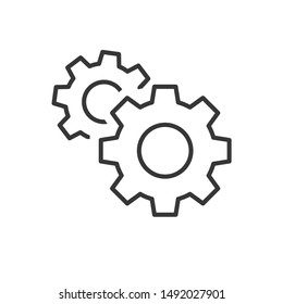 Gear icon template color editable. Gear symbol vector sign isolated on white background.