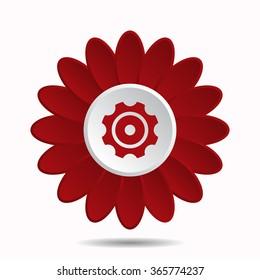 gear icon, vector illustration. Flat design style, flower icon