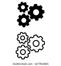 Gear Icon Vector Template, Flat Design Engineering Cogwheel