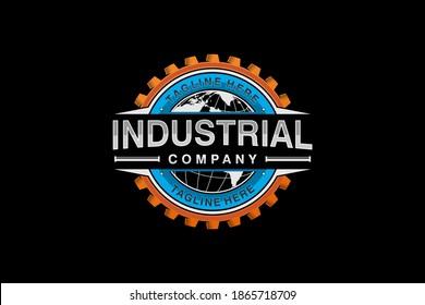 Gear industrial logo design, modern shape cog wheel minimalist badge icon