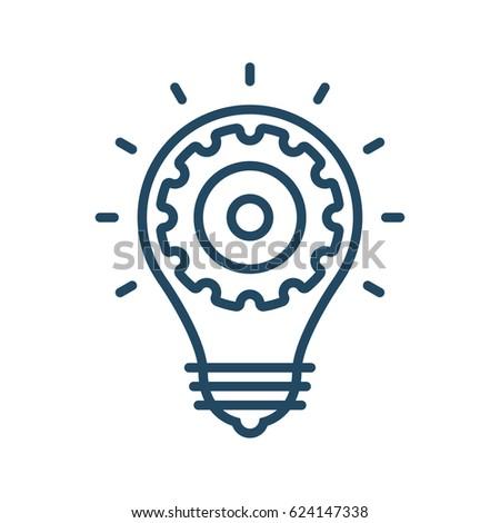 Gear Inside Light Bulb Vector Icon Stock Vector Royalty Free