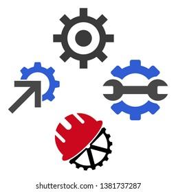 Gear install tools icon symbol set. Vector illustration style is flat iconic symbols, isolated on a white background. Gear install tools pictograms.
