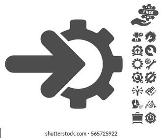 Gear Integration icon with bonus options symbols. Vector illustration style is flat iconic gray symbols on white background.