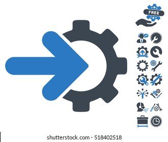 Gear Integration icon with bonus setup tools pictograms. Vector illustration style is flat iconic smooth blue symbols on white background.