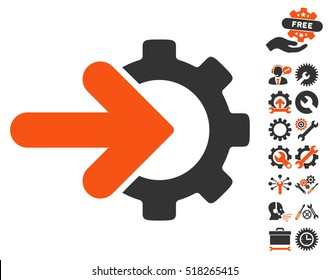 Gear Integration pictograph with bonus tools pictograph collection. Vector illustration style is flat iconic orange and gray symbols on white background.