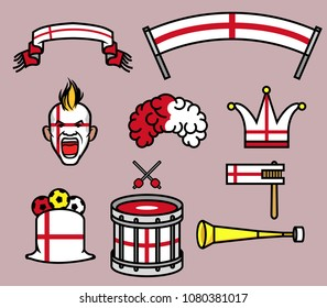 Gear kit collection of England soccer supporter. Elements of this image furnished by England flag. Vector illustration for Zussia world cup 2018 theme.