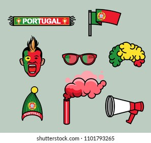 Gear kit collection of Portugal soccer supporter. Elements of this image furnished by Switzerland flag. Vector illustration for