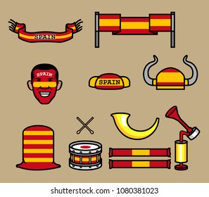 Gear kit collection of Spain soccer supporter. Elements of this image furnished by Spain flag. Vector illustration for Zussia world cup 2018 theme.