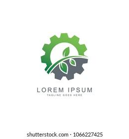 Gear leaf logo, vector logo template