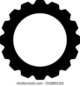 Gear line icon in black, flat style, isolated on white background. Work concept. Mechanism logo. Machine symbol. For app, graphic design, Web site, UI, ux, gui. Vector EPS 10
