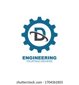 Gear Logo with d letter vector icon illustration design