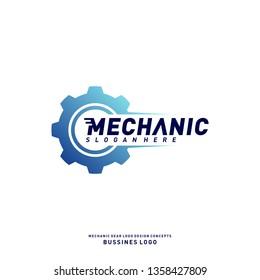 Gear Logo Design Concepts. Mechanical Gear Logo Template Vector. Icon Symbol