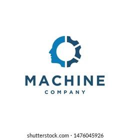 gear / machine man vector icon logo design