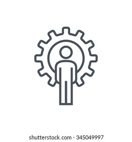 Gear and man icon suitable for info graphics, websites and print media. Colorful vector, flat icon, clip art.