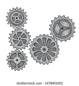 Gear mechanism color sketch engraving vector illustration. Scratch board style imitation. Hand drawn image.