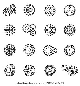 gear mechanism icon set with white background. thin line style stock vector.