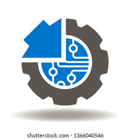Gear microchip arrow icon vector. Cogwheel circuit integration tech logo. Electronics hardware production and install symbol.