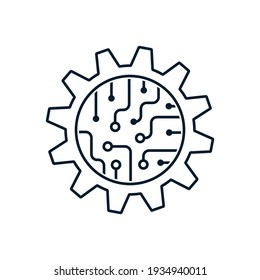 Gear, microcircuit. The concept of implementing systems for software automation of processes. Vector icon isolated on white background.