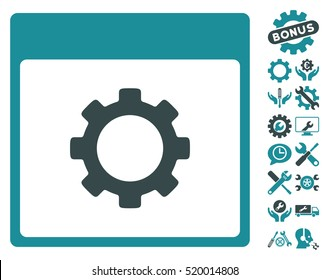 Gear Options Calendar Page pictograph with bonus service symbols. Vector illustration style is flat iconic symbols, soft blue, white background.