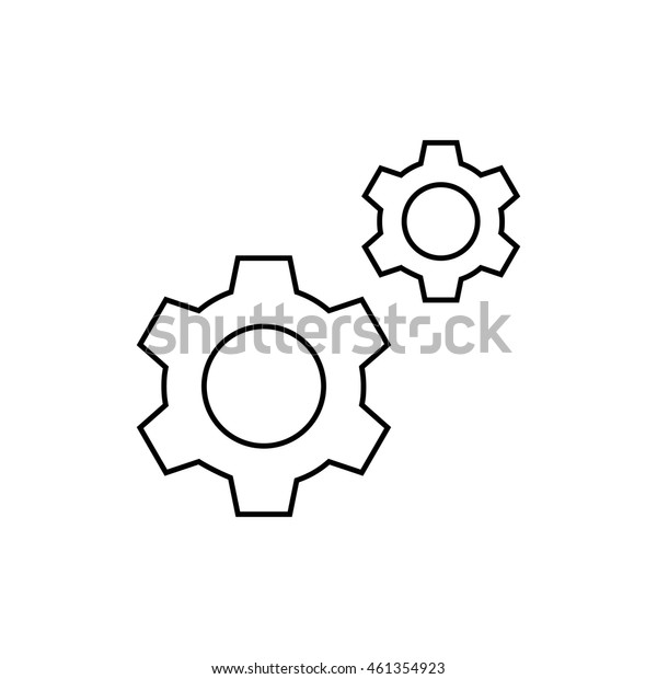 Gear outline icon illustration isolated vector sign symbol