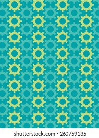 Gear pattern arranged over solid color background