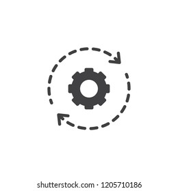 Gear and rotation arrows vector icon. filled flat sign for mobile concept and web design. Gearwheel in motion simple solid icon. Symbol, logo illustration. Pixel perfect vector graphics