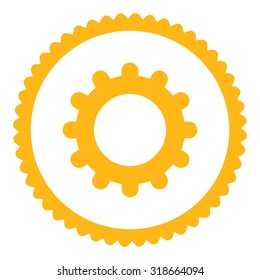 Gear round stamp icon. This flat vector symbol is drawn with yellow color on a white background.