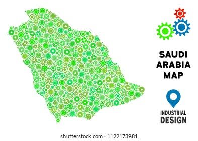 Gear Saudi Arabia map mosaic of small gearwheels. Abstract territorial plan in green color tones. Vector Saudi Arabia map is designed of cogs. Concept of technical service.