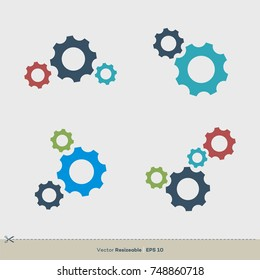Gear Set Vector Template. Colorful Icon Logo Illustration Design. Vector EPS 10.