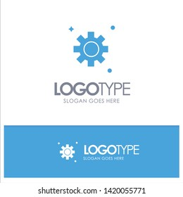 Gear, Setting, Cogs Blue Solid Logo with place for tagline