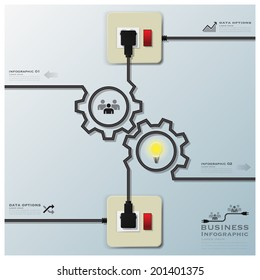 Gear Shape Electric Wire Line Business Infographic Design Template