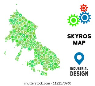 Gear Skyros Greek Island map composition of small wheels. Abstract territorial scheme in green color tinges. Vector Skyros Greek Island map is organized from gear wheels.