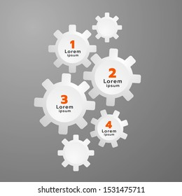 Gear steps for designing an infographic or for an organization to use in a presentation. Vector. Illustration.