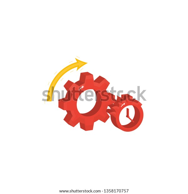 Gear Stopwatch Timer Symbol Fast Efficient Stock Vector (Royalty