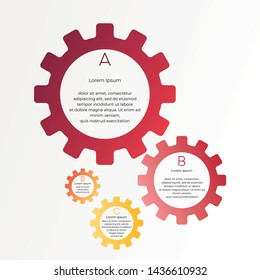 gear style infographic. business visualization template. four steps charts