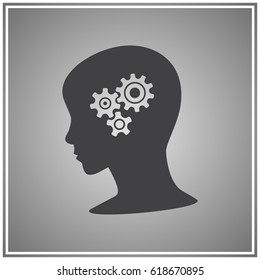 Gear symbol in the head of a thinking silhouette woman on a background